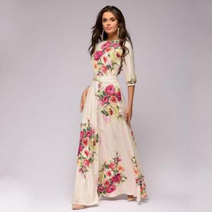 Spring Summer Vestidos De Festa Hot Sale O neck Half Lantern Sleeve Long Dress For Female Elegant Bohemian Women Dress