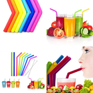 Drinking Straw Silicone Stripes Straw 6 color Silicone Eco Straws Reusable for 800ml Mugs Smoothie Flexible Sucker DH0011 123 J2