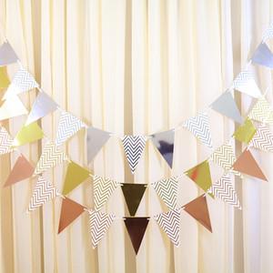 String de bandeiras arranjo de celebração de casamento aniversário decorar dourada banner qualidade Pennant fábrica de fábrica vendendo 2 2SH P1