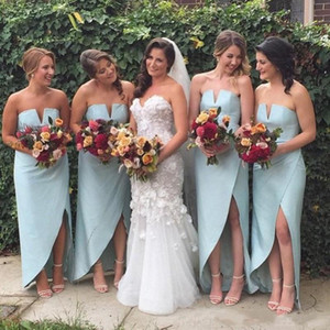 2021 Mint Bridesmaid Dresses High Low Chiffon Bohemian Floor Length Strapless V Neck Custom Made Maid of Honor Gown Plus Size Beach Wedding