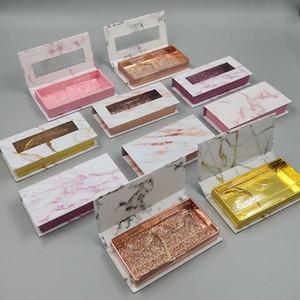 Sell Cosmetic Eyelashes Packaging New Marble Design Framed False Eyelash Packaging Box With WindoW 3D Fake Eye Lashes Box Empty eyelash box