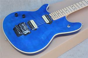 Заводская настраиваемая левша синяя электрическая гитара с Floyd Rose, Maple Fretboard, Flame Maple Peneer, может быть настроена в соответствии с запросом
