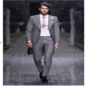 Custom New Design Slim Fit Mens Suits Italian GREY Jacket With Pants Wedding Suits For Men Tuxedos Groom Suit(Jacket+vest+Pants+