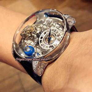 Luxus Static Version Skeleton Astronomical Tourbillon Dial Schweizer Quartz Herrenuhr silbrig Fall-Leder-Designer-Uhren