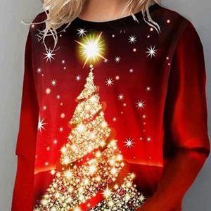 Christmas Blouse Shirt Women Tee Christmas Tree Printed Ladies Tops Shirt Casual Long Sleeve Blouse Women Camiseta Mujer