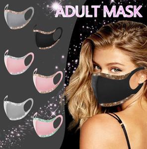 Moda Bling Glitter Máscara Facial sólidos máscaras de cor máscara protetora lavável reutilizáveis Adultos Mulheres Boca Ciclismo Dustproof Partido Tampa F102101