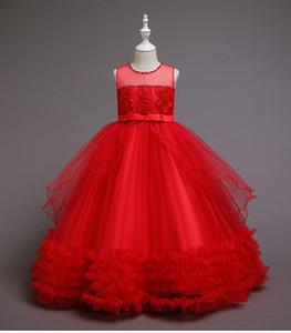 Fashion Red White Flower Girls' Dresses Ball Gown Beaded Crystal Bow Rosette Flower Girl Dresses Kids Wedding Dress