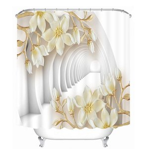 Customized Beautiful 3D White Flower Butterfly Pattern Shower Curtains Bathroom Curtain Waterproof Thickened Bath Curtain