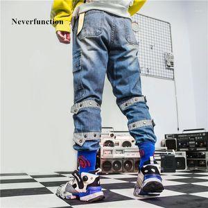 Neverfunction Männer Vintage Lose Multi-Tasche Gerade Jeans Hohe Qualität Solid Mens Hip Hop High Street Baumwolle Denim Houser1