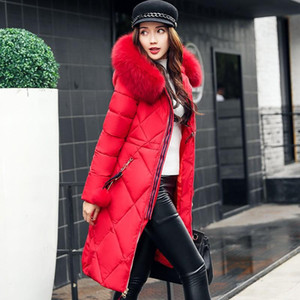 Women Winter Jackets And Coats 2020 Casual Long Sleeve Big Fur Collar Down Coat Female Loose Warm Hooded Parkas Plus Size 2XL