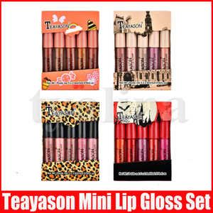 Teayason Lip Makeup Set 5pcs Mini Matte Lipstick Líquido lipkit Lip Gloss Nude Cor Lipgloss Make Up kit 4 Styles