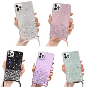 2020 new fashion Colorful flash diamond phone Silicone Soft TPU Protective case With Hanging Rope For iPhone 12Max 6.7inch
