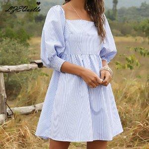 Lzequella Kadınlar Şerit Mini Elbise Bayanlar Gevşek Kore Gömlek Elbiseler İlkbahar Yaz Yüksek Bel Steetwear NZ20221