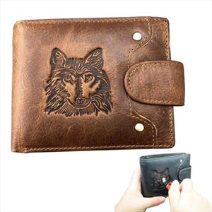 Mens Wallet Genuine Leather Wallet 2019 New Short Wolf Head Pattern Boys Portfel Meski Men Wolf