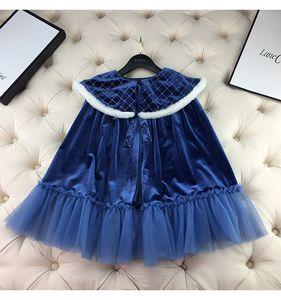 Lovely Girls Dress Blue Winter Autumn Puff Sleeve Princess Dress and Cloak 2 Pcs Set Ice Girl Matching Set Soft Velvet Princess Costume