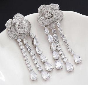 S925 Silver Rose brincos com Crystal Fashion Women queda de jóias Designer Tassel Dangle brincos com CZ Diamante Top Quality