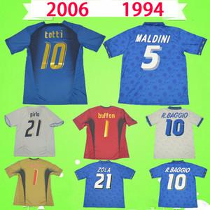 الرجعية إيطاليا 1994 كرة القدم جيرسي 2006 الكلاسيكية خمر 06 قميص كرة القدم 94 maldini r.bagio totti del piero حارس مرمى بوفون