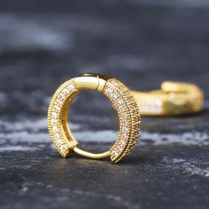 European and American Huggie Ring Earrings Full Diamond Zircon Bling Men Hip Hop Ear Pendant Hiphop Trendy Ear Rings