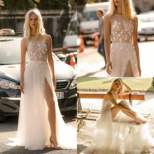 Gali Karten 2020 New Beach Wedding Dresses A Line Jewel Lace Split Sleeveless Bridal Gowns Plus Size Bohemia robe de mariée