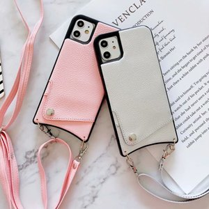 New PU leather lychee pattern card case for iPhone 12 7 8 Plus X XR XS MAX diagonal strap for iPhone 11 11Pro MAX protective case