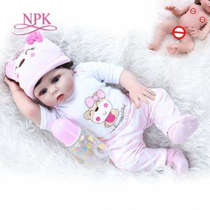 popular 48CM full body soft silicone reborn baby girl doll in pink dress flexible soft touch cuddly newborn baby Birthday Gift 201021