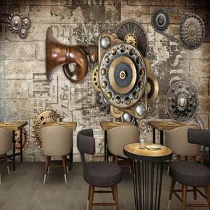 Dropship Photo Wallpaper Custom Studio Shop Fresco ретро кирпичная стена шестерня бар ресторан фон KTV росписью промышленного декора