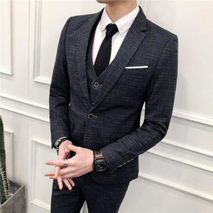 YUSHU Mens Wedding Suit Fashion Three Piece Suit Sets Male Business Casual Blazers Pants Vest Set