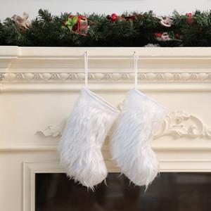 23 * 12cm Dimensioni di calze dono di Natale Borsa decorativo Socks Media Calza della Befana bianco peluche pendente dell'albero di Natale