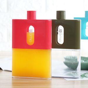 BPA Free A5 Paper Book Bottle Flask Flat Water Bottle Plastic Portable Paper Pad Notebook Water Bottles Flat Drinks Kettle 201105