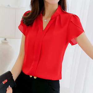 Women Chiffon Blouse Elegant Plus Size Short Sleeve Shirt Womens Tops And Blouses Ladies Formal Office Clothing Work Top 2021