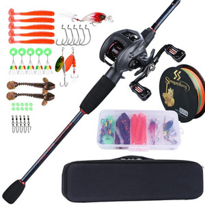 Sougayilang Fishing Rod Full Kits Casting Fishing Rod and Baitcasting Reel Lure Hooks Line Bag Travel Combos