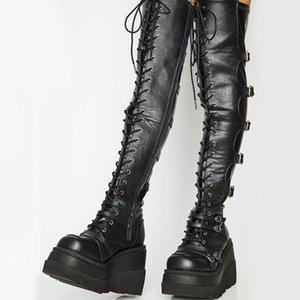 العلامة التجارية تصميم كبير الحجم 43 رباط الحذاء تأثيري دراجات نارية الأحذية أبازيم منصة أسافين عالية الكعب الفخذ أحذية عالية النساء الأحذية C0202