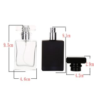 30ml de vidro frascos de pulverizador de perfume Portable Atomizer Vazio Recarregável Clear Viagem Preto Recipiente Cosmético Parfum Garrafas Vazias GWD4502