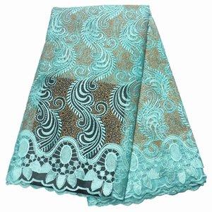 teal 2019 high quality lace nigerian fabric for women dress african tulle with stones 5yards per piece