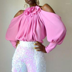 Women Tops And Blouses 2019 Pink Falbala Lantern Sleeve Elegant Office Lady Female Ruffles Cold Shoulder Shirts Plus Size Blouse1