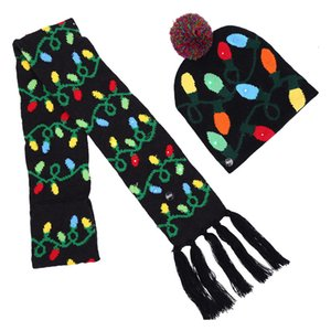 Led Christmas Knitted Hats and scarf Kids Baby Moms Winter Warm Beanies Crochet Caps Pumpkin snowmen Festival party decor gift props DDE2197