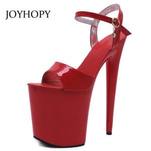 JOYHOPY 20CM Тонкий каблук ужин на высоком каблуке гладиатор сандалии женской платформы Peep Toe обувь ночной клуб вечеринки высокие каблуки WS1697 Y200405