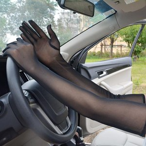 Longer Dense Mesh Gloves Women's Ultra-thin Short Summer Driving and Cycling Sexy Black Sun Protection Arm Sleeve Autumn