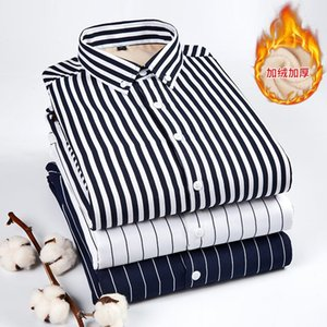 2020 New High Quality Winter Warm Striped Casual men shirt Long sleeves Shirts Mens Fashion Thick Flannel Shirt camisa masculina