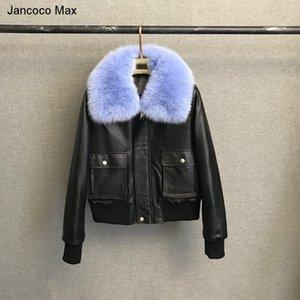 Jancoco Max Chaqueta de piel de piel de piel de piel de oveja de cuero real de Jancoco Max para abrigo de plumas cubierta acolchada 2021 NUEVO S8001