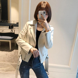 LY VAREY LIN 2020 New Spring Autumn Women Korean Style Faux Leather Jacket Turn-down Collar Long Sleeve With Belt Pocket PU Coat