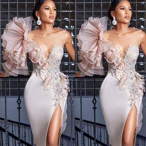 2021 Unique Design Prom Dress Jewel Neck Beading Crystal Mermaid Evening Dress Red Carpet Runway Fashion Gowns vestidos de novia