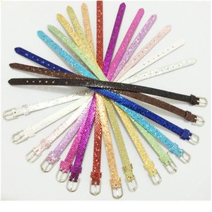 Sales 8mm Pu Leather Paillette Wristband Bracelets Mixed Color Diy Accessory Fit 8mm Slide Cha jllrTn