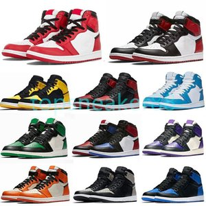 Top quality basketball shoes Chicago Royal Toes black metal gold pine green black men and women sneakers