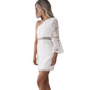 2019 New Women White Lace Dress Sexy One Shoulder Flare Sleeve Crochet Lace Bodycon Dress Hollow Out Clubwear Mini Party1