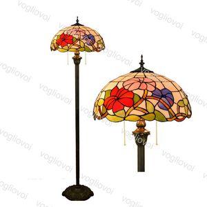 Lámparas de pie Europea Retro Mañana Gloria Multicolor Diámetro de vidrio 40 cm Soldadura 110-240V para salón comedor Barra de dormitorio DHL