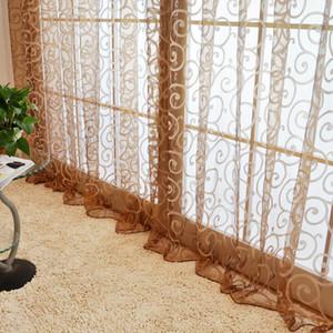 New 100*200cm Vintage Pastoral Floral Tulle Voile Door Scarf Valances Drape Sheer Window Curtain Bedroom Living Room