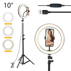 "Lumière de 10 ""LED Selfie Bague pour le flux en direct / maquillage / vidéo Dimmable Beauty Ringlight avec support de trépied 26cm RingLight Lampe d'éclairage photographique"
