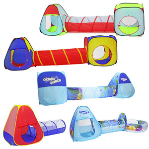 3 In 1 Children Indoor Outdoor Crawling Folding Game House Polka Dot Tunnel Shooting Marine Ball Pool Toys Kids Tent Gifts LJ200923