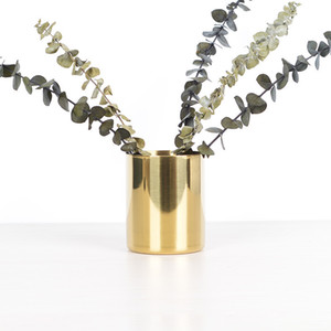 Stainless Steel Brush Pot Vintage Simplicity Desktop Ornaments Vases Plated Gold Nordic Style Multi Function Storage Cup 18yh K2
